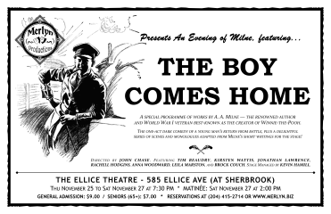 "An Evening of Milne, featuring ""The Boy Comes Home"" (2010) - Poster Design"