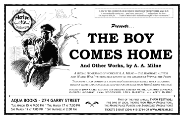 THE BOY COMES HOME, And Other Works by A. A. Milne (2011) - Poster Design